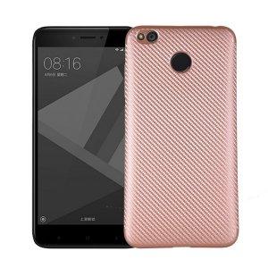 Etui Carbon Fiber Xiaomi Redmi 4X różowo -złoty/rosegold