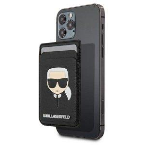 Etui Karl Lagerfeld KLWMSKHSFBK Wallet Card Slot Saffiano Karl`s Head MagSafe czarny/black