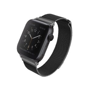 UNIQ pasek Dante Apple Watch Series 4/5/6/SE 44mm. Stainless Steel czarny/midnight black
