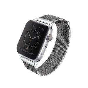 UNIQ pasek Dante Apple Watch Series 4/5/6/SE 44mm. Stainless Steel srebrny/sterling silver