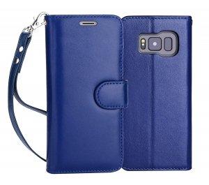 FYY Samsung Galaxy S8+ PLUS - Etui book case ze smyczką (granatowy)