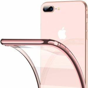 ETUI ELEGANCE PLATE iPHONE 7+ 8+ +SZKŁO (rose-gold)