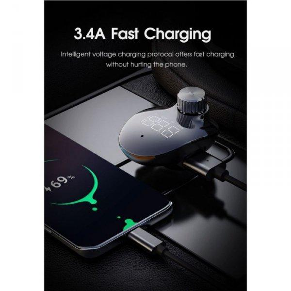 ROCK B302 2-PORT USB CAR CHARGER + TRANSMITER FM BLACK