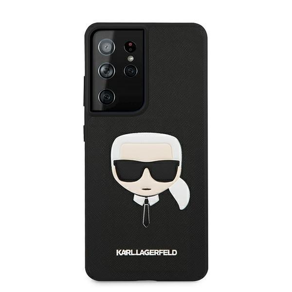 Etui Karl Lagerfeld KLHCS21LSAKHBK S21 Ultra G998 czarny/black hardcase Saffiano Ikonik Etui Karl`s Head