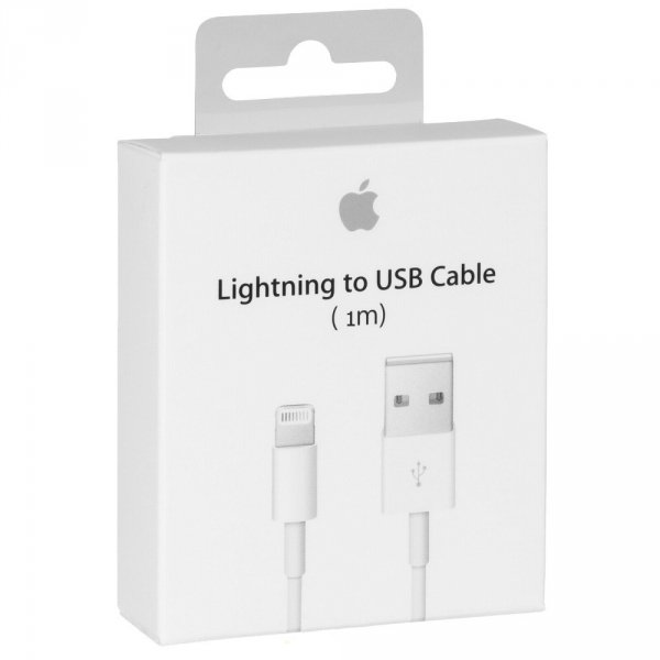 APPLE LIGHTNING TO USB - ORYGINALNY KABEL USB DO APPLE iPHONE 5 5S SE 5C 6, 6 PLUS, 7 7+ 8 , X/XS iPad MINI 4 RETINA - MD818ZM/A (oryg. opakowanie)
