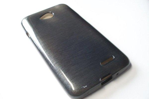 Metalic Jelly Cover Brushed - etui silikonowe do LG L70 L65 (szary)