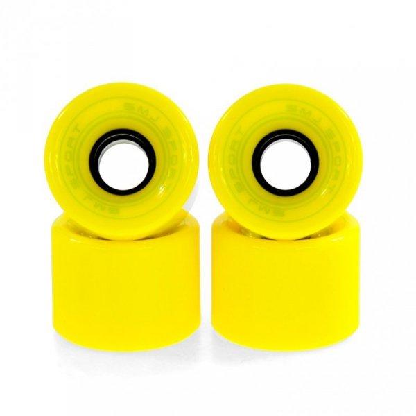 Kółka SMJ do deskorolki plastikowej 60x45mm 4szt żółte