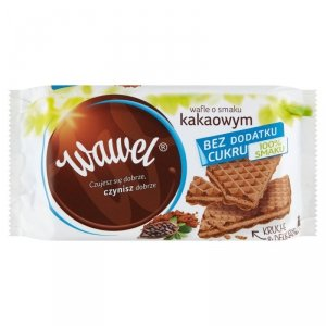 Wawel Wafle o smaku kakaowym bez dodatku cukru 110 g