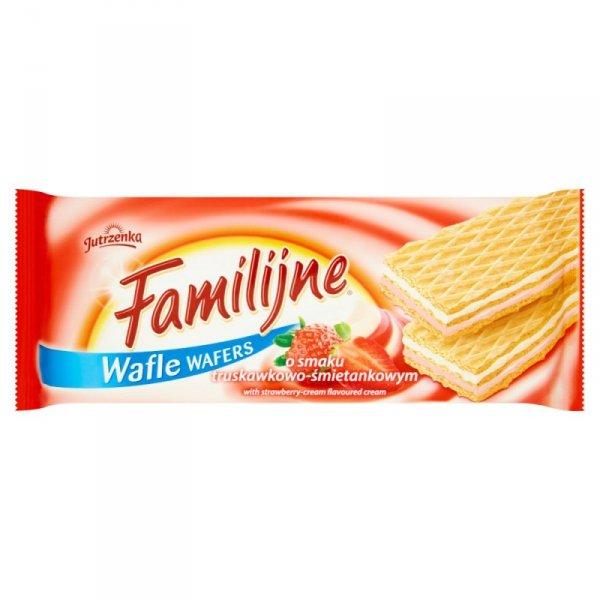 Familijne Wafle o smaku truskawkowo-śmietankowym 180 g