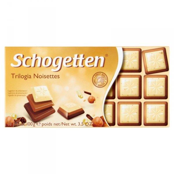 Schogetten Czekolada biała z orzechami laskowymi z czekoladą mleczną 100 g