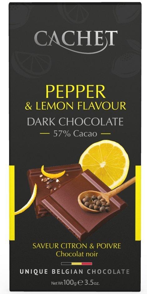 Cachet Belgijska Czekolada Dark o smaku Cytryny z dodatkiem Czarnego Pieprzu 100g