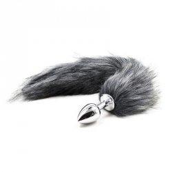 Plug anale con coda Long Fox Tail grigia