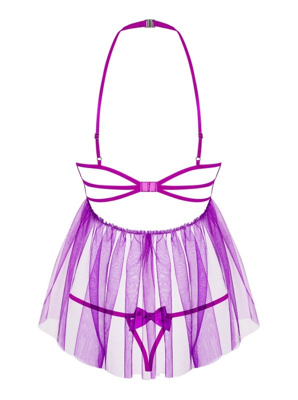 Bielizna-Delishya babydoll i stringi fioletowa L/XL