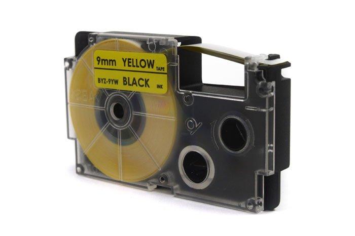 Taśma JetWorld Zamiennik Casio Czarny na Żółtym 9mm x 8m (PT-9YW1, PT9YW1, XR-9YW1, XR9YW1)