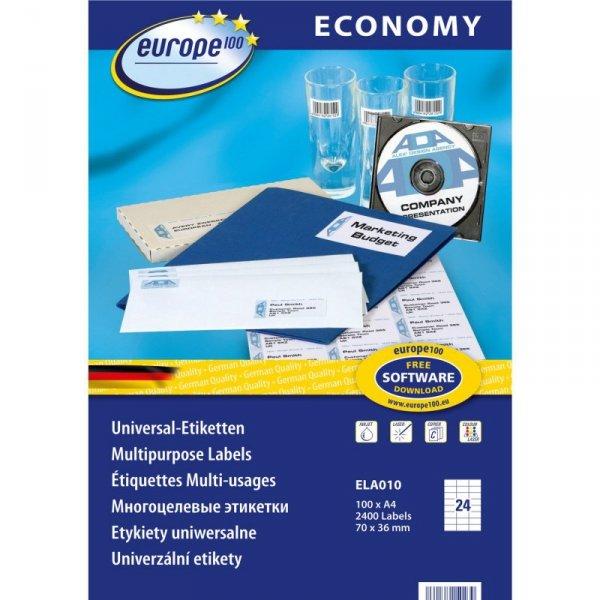 Etykiety ECONOMY A4 białe 70x36mm ELA010 AVERY ZWECKFORM