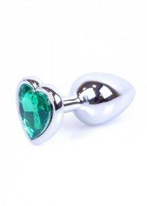 Plug-Jewellery Silver  Heart PLUG- Green