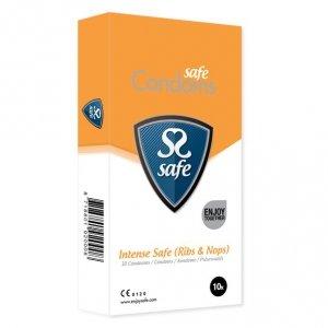 Prezerwatywy stymulujące - Safe Intense Safe Condoms Rib-Nop 10 szt