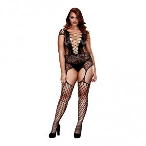 Bodystocking - Baci Corset Front Suspender Fishnet Bodysuit Queen Size