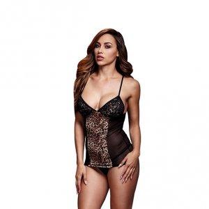 Koszulka - Baci Leopard Basque & Garter Stays No Panty One Size