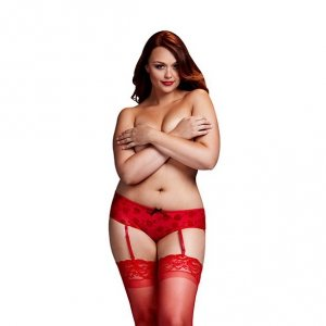 Szorty - Baci Red Rose Open Crotch Boyshort Panty Queen Size
