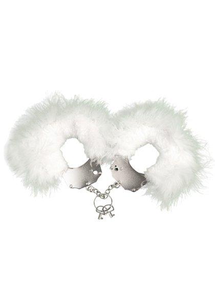 Kajdanki-Śmieszna zabawka-kadanki - Metallic Handcuffs,feather cov.. White