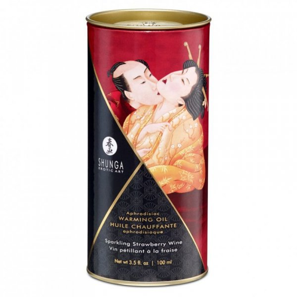 Olejek do masażu - Shunga Warming Oil Sparkling Strawberry Wine 100 ml