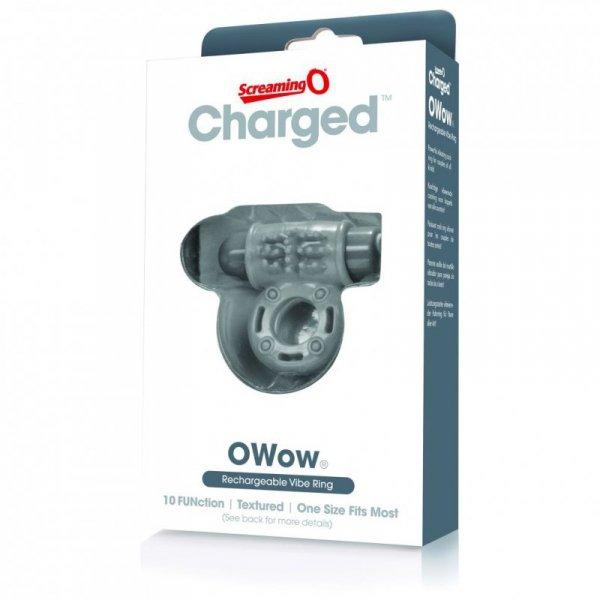 Pierścień erekcyjny - The Screaming O Charged OWow Vibe Ring Grey