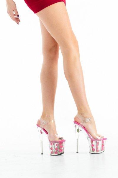Buty platformy z różami fuxia 36