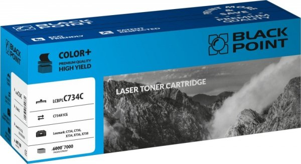 Black Point toner LCBPLC734C zastępuje Lexmark C734A1CG, niebieski