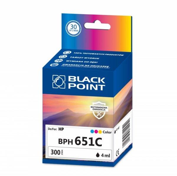 Black Point tusz BPH651BK zastępuje HP C2P11AE, tricolor