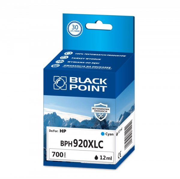 Black Point tusz BPH920XLC zastępuje HP CD972AE, niebieski
