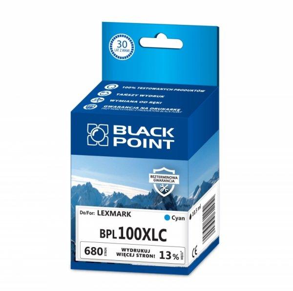 Black Point tusz BPL100XLC zastępuje Lexmark 14N0900E,  niebieski