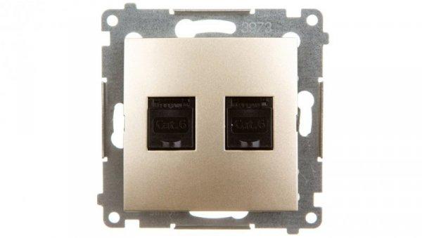 Simon 54 Gniazdo komputerowe podwójne 2xRJ45 kat.6 z przesłoną złoty mat D62.01/44
