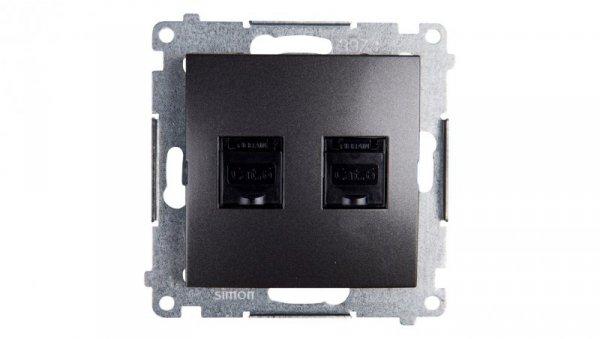 Simon 54 Gniazdo komputerowe podwójne 2xRJ45 kat.6 z przesłoną antracyt D62.01/48