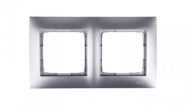 Simon 54 Premium Ramka podwójna srebrny mat /do karton-gips/ DRK2/43