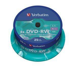 Verbatim DVD-RW 4x 4.7GB 25P CB Matt Silver 43639