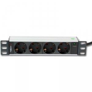 Techly Listwa zasilająca Rack 10 1U 250V/16A 4xSchuko, 1,8m
