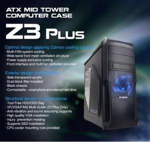 Zalman Obudowa Z3 Plus ATX Mid Tower Blue LED fan ODD