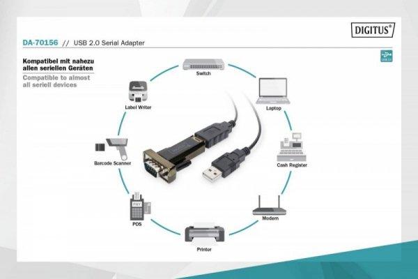 Digitus Konwerter/Adapter USB 2.0 do RS232 (DB9) z kablem USB A M/Ż 80cm