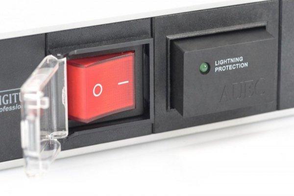 """Digitus Listwa zasilająca PDU 19"""" RACK 7xSchuko, 2m 1xSchuko, 16A, wł./wył., zab.przepięciowe, aluminiowa"""