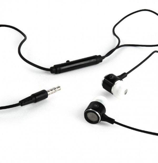 Gembird Słuchawki douszne z mikrofonem 90cm czarno-białe