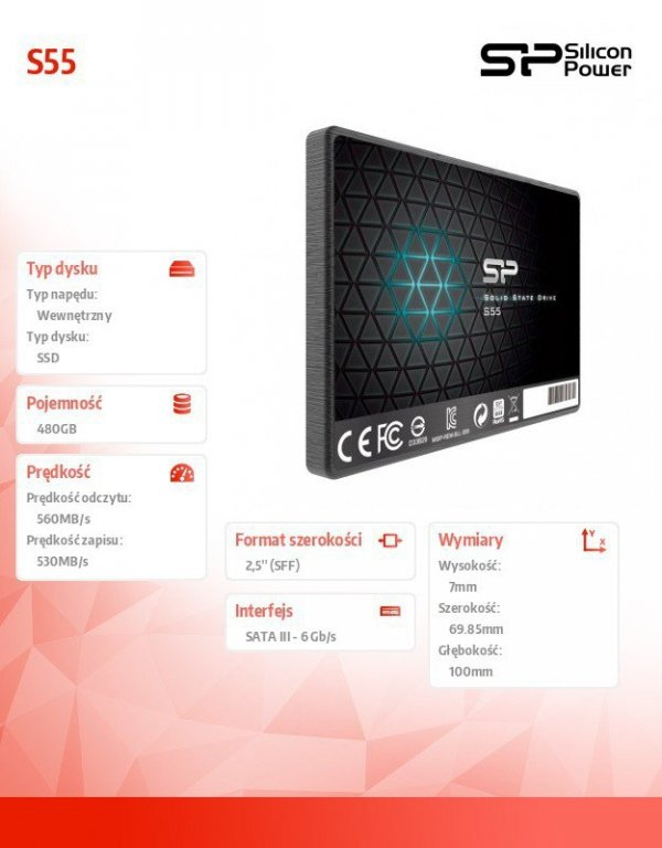 "Silicon Power Dysk SSD Slim S55 480GB 2,5"" SATA3 560/530 MB/s 7mm"