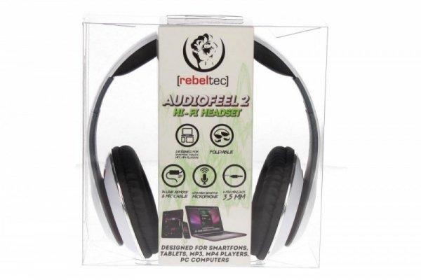 Rebeltec Stereo słuchawki z mikrofonem 4pin mini jack AUDIOFEEL2 WHITE