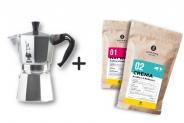 Zestaw Kawiarka 6tz + 2 x kawa 8 grams