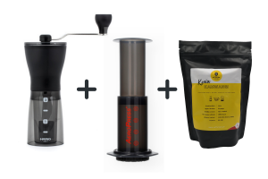 Zestaw Hario Mini Mill + Aeropress + 8grams Speciality 250g