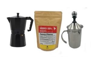 Zestaw Kawiarka Odelo 3tz + Spieniacz + Kawa 8 grams