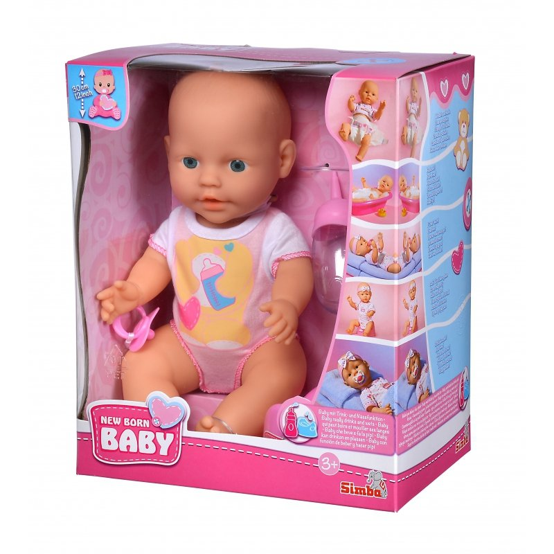 Lalka Pijąca i Siusiająca Simba Bobas z Zestawem Ubranek New Born Baby