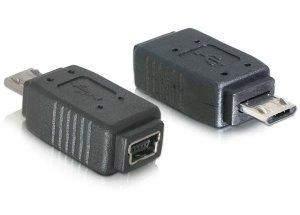 Adapter DELOCK 65063 (Mini USB F - Micro USB M; kolor czarny)