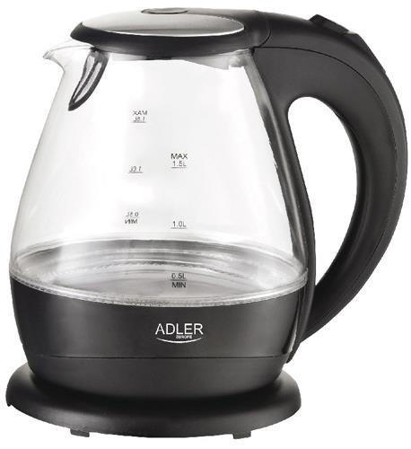 Adler AD 1224 czajnik elektryczny 1,5 l Czarny, Przezroczysty 2000 W
