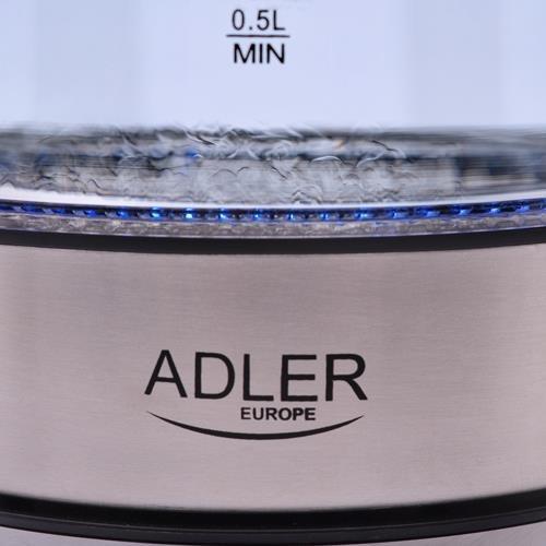 Adler AD 1246 czajnik elektryczny 1,8 l Stal nierdzewna, Przezroczysty 2200 W